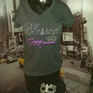 Gray Blinged Blessed Mom Tee